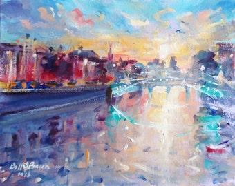 "Original oil painting  Irish Art ""Hapenny Bridge on the Liffey Dublin"". Acrylic on canvas panel 10x8 inches..by Bill O'Brien."