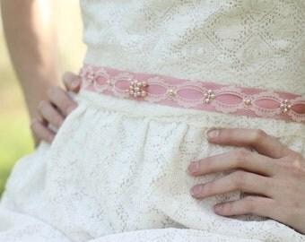 Bridal Sash, Wedding Sash, Lace Sash, Vintage Wedding Sash, Folk Sash, Vintage Lace Sash, Bridal Pearl Belt, Pink Bridal Sash
