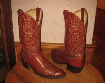DAN POST     Mens  12  Wide     Brown Leather  Cowboy Boots     Made In USA