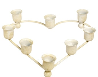 metal heart CANDLE HOLDER, French white, weddings, 8 candles, beach house