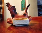 Vintage Ceramic Horse Dresser Caddy Retro Midcentury Kitsch 1950s
