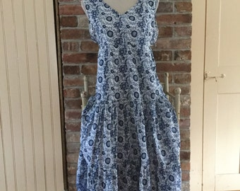 Vintage India Boho Hippie Festival Tiered Cotton Blue pattern long Dress M