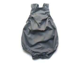 Grey Gray Baby Romper Toddler Sun Suit ( Custom ) Simple Modern Urban Bubble Snap Bottom Crotch Closure Pinafore Outfit