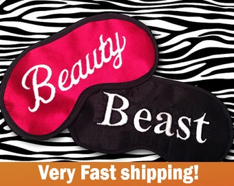 Beauty and Beast Embroidered Red and Black His and Hers Eye Masks - SALE  - favorite on pinterest tumblr instagram polyvore