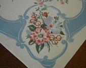 "Vintage Tablecloth/Topper  Cottage Cutie, Pink, Blue 34 x 35"" Ribbon Cotton"