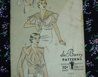 Vintage Pattern c.1930's DuBarry No.1084B Blouse/Jacket Size 36-38 Uncut