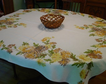 """Vintage Tablecloth Lovely Linen with Mums in Yellows, Browns 50 x 51"""""""