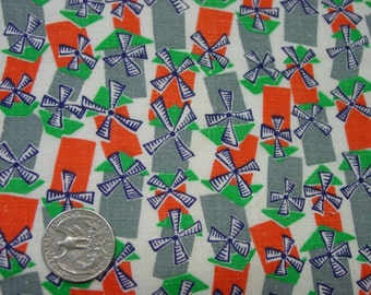 Fun Vintage Full Novelty Feedsack, Fabric, Tiny Pinwheels, As Is, But Nice