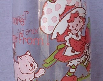 Vintage Strawberry Shortcake drinking glass, 1980, There's More where that came from, pink cat, Collectible glass tumbler, gift for girl