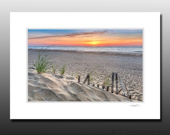 Sand Dune Fence Beach Sunrise Photography, Sand Footprints, Fenwick Island Delaware, Cubicle Decor, Small Matted Print Fits 5x7 inch Frame