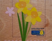 DESTASH - Do Crafts - Limited Edition Marie Curie Cancer Care Daffodil Wooden Backed Rubber Stamp