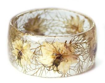 White Flower Jewelry- Real Flower Jewelry- White Bangle- White Flower Jewelry- Resin Jewelry- Flower Bangle- Flower Resin Bracelet