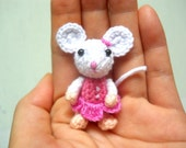 Small Crochet Mouse Girl - Amigurumi Miniature Stuffed Animals - Made To Order