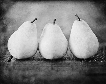 Black and White Kitchen Print or Canvas Wrap, Rustic Kitchen Decor, Black and White Pears Picture, Food Photograph, Kitchen Art, Kitchen.