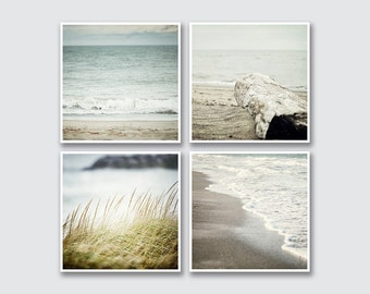Square Beach Prints or Canvas Art to fit IKEA Ribba, Virserum or Fjallsta Frames, Set of 4 Beach Decor Prints, Blue Ocean Art.