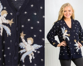 Vintage Wool Angel Sweater | Ugly Christmas Sweater | Navy Blue Dot Silver Gold Metallic | Cardigan Unisex Sweater Mens Womens 15HH
