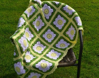 Spring time willow square crocheted blanket