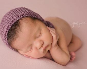 Newborn bonnet- Purple - Mauve