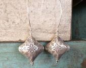 Exotic Bold Dangle Earrings -- Hill Tribe Fine Silver Puffed Rhombus -- Statement Earrings, Bold Earrings
