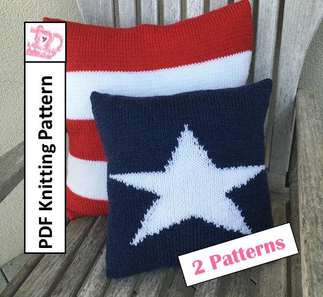 PDF KNITTING PATTERN American Flag knitting patterns Stars