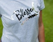 Blessed T-shirt Bless Shirt Shirt with words Blessed Blessed in this Heather Gray  T-shirt Christian Shirt Religious Shirt