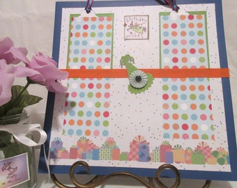 12x12 scrapbook page, Birthday party premade single layout, Four photo mats