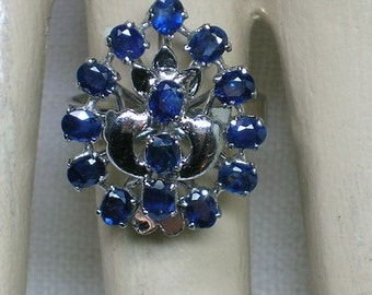 Sapphire Cluster Ring, 925 Sterling Silver, Teardrop Shape, Tower Ring. Genuine. Size 6 3/4