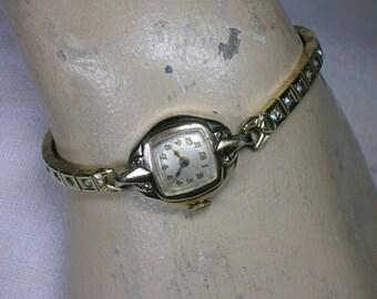 1930s Bulova Watch, Ladies Sterling Vermeil, Rhinestone SPEIDEL GF Bracelet. Gorgeous & Works