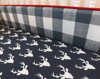 Boy Crib Bedding- Buffalo Check Baby Bedding- Deer Bedding- MADE to ORDER- Sheet- Bumper Boy Bedding- Deer Crib Bedding- Stag- Buffalo Check