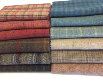 Sunset to Dawn, Wool Fabric for Rug Hooking and Applique, 12) pieces, Select-a-size, W202
