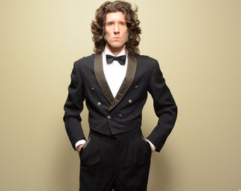 mens vintage waiter jacket 40s 50s crop tuxedo jacket 1940 1950 double breast metal button shawl collar Lauterstein's 40 40R