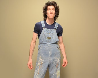 vintage 60s 70s overalls Washington Dee Cee painter distressed artist 1960 1970 sanforized overalls denim overalls small S