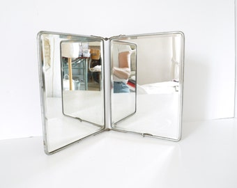 French Vintage Shaving Mirror triptych barber double  bathroom mirror