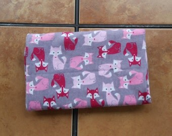 Pink Red Foxes on Gray Extra Large 41 x 41 Handmade Flannel Receiving Swaddle Baby Blanket