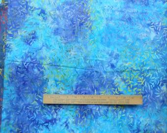 Marbled Turquoise Blue Lavender Leaf Vine 1 Yard Central Java Batik Quilting Cotton Fabric