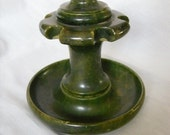 70's Green Marble Pipe Stand Alabaster Humidor Pipe Smoker Display Home Decor