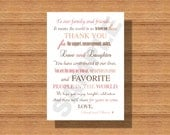Rustic Wedding Day Thank You Note for Wedding Guests, Thank You Note Napkin Card, Wedding Guest Thank You Note, Printable Wedding Thank You