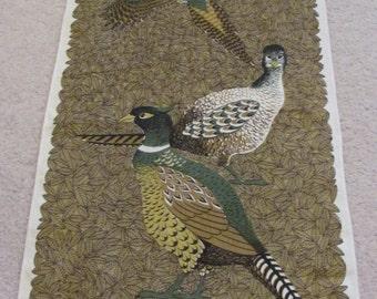 Vintage Lois Long Fallini Pheasant Bird Linen Kitchen Hand Towel