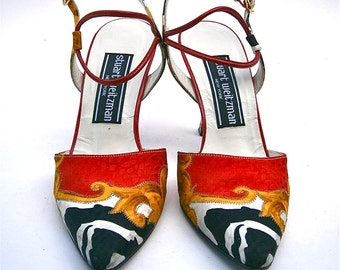 Vintage Red Black Ladies Shoes Size 5M Flared High Heels Leather Gold Silk Stuart Weitzman Designer Women Pump Slingback Double Ankle Strap