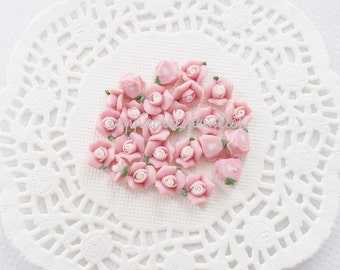 10pcs - Small Ceramic Tea Time Light Pink Rose Decoden Cabochon (8mm) FL10021