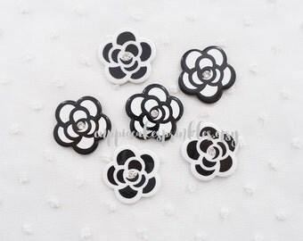 6pcs - Pretty Black and White Camellia Mix Decoden Cabochon (29mm) FL022