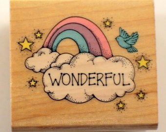 Hero Arts C252 Wonderful Rainbow And Cloud Wooden Rubber Stamp