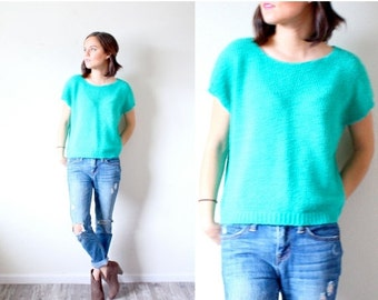 30% OFF out of town SALE Vintage Boho // teal short sleeve sweater // turquoise small sweater // summer sweater // modest top // short sleev