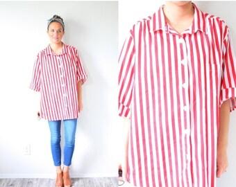 20% OFF HALLOWEEN SALE Vintage red striped oversized shirt // boho striped top // short sleeve shirt // sailor nautical summer shirt // picn