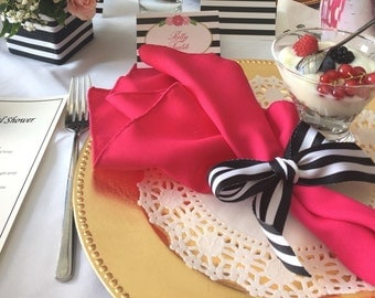 Set of 16  Dinner Napkins in Hot pink Fuschia  Gabardine 19 x 19 Wedding Party Reception