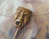 Vintage Brass Antique Drama Mask Stick Pin