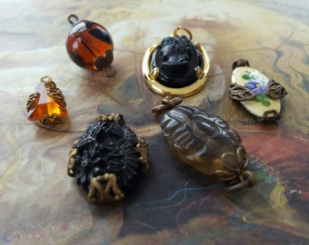 6 Vintage Jet and Amber Czech & Art Glass Pendants and Pieces UPCYCLED
