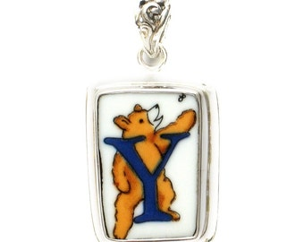 Broken China Jewelry Alphabet Monogram Bear Sterling Pendant- Y