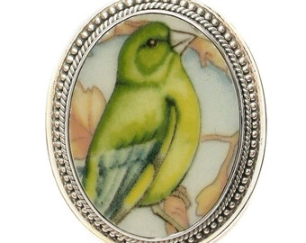 Broken China Jewelry Wedgwood Garden Birds Greenfinch Sterling Brooch Pin/Pendant