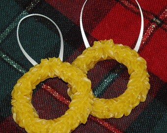 Pure Beeswax Wreath Decorations ~ Wreath Christmas Ornaments ~ Set of 2 Wreath Christmas Decorations ~ Beeswax Holiday Decorations